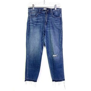 🌵Sneak Peek Jeans Raw Hem Blue Ripped High Waist